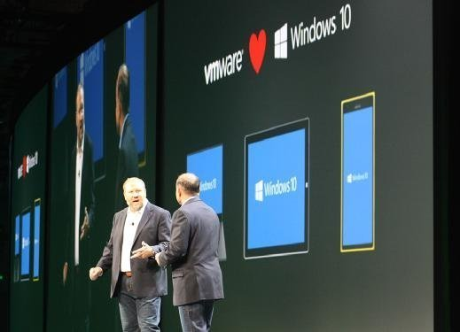 Windows security executive Jim Alkove joined VMware EUC GM Sanjay Poonen on stage here during the VMworld 2015
