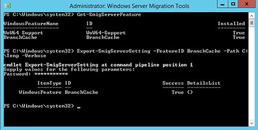 Das Cmdlet Export-SmigServerSetting exportiert Windows-Features.