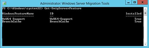 Das Cmdlet Get-SmigServerFeature zeigt an, welche Features das Windows Server Migration Tools Snap-In migrieren kann.