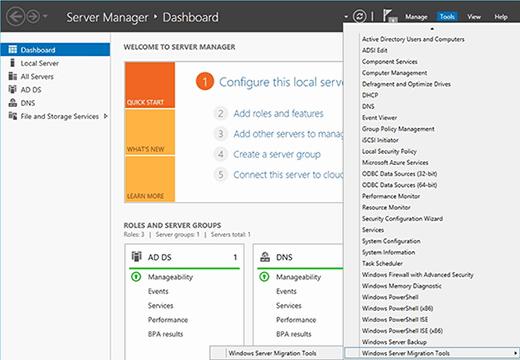 Die Windows Server Migration Tools sind über den Server Manager verfügbar.