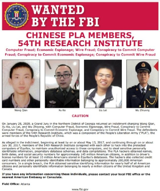 Wanted poster for four members of the Chinese People's Liberation Army