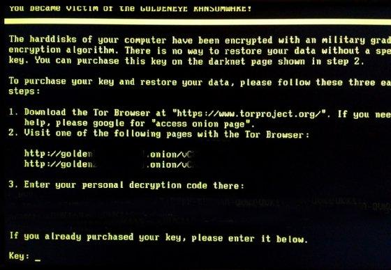 Screenshot of Goldeneye's ransom demand