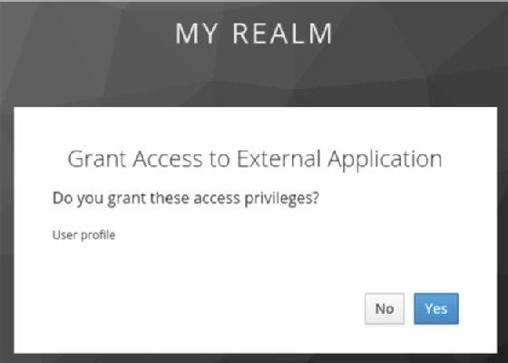 Keycloak screenshot showing user granting access