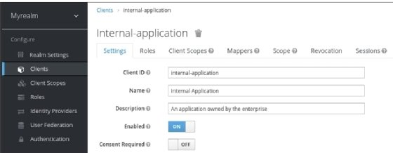 Keycloak screenshot for enabling internal applications