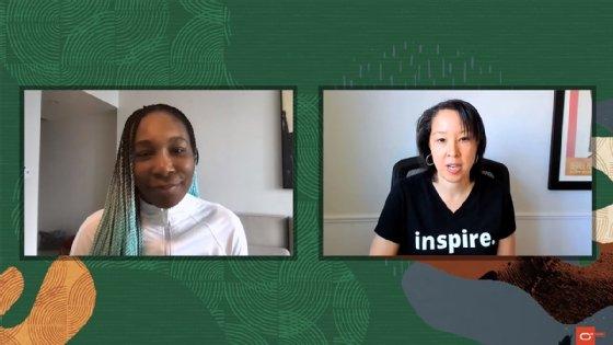 La gran tenista Venus Williams (izquierda) y Ashley Hart, vicepresidenta senior de marketing global de Oracle Cloud, analizan el papel de la analítica en el tenis en una presentación web patrocinada por Oracle.