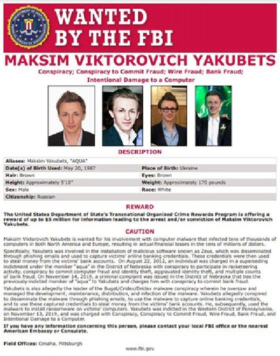 Maksim Yakubets wanted poster