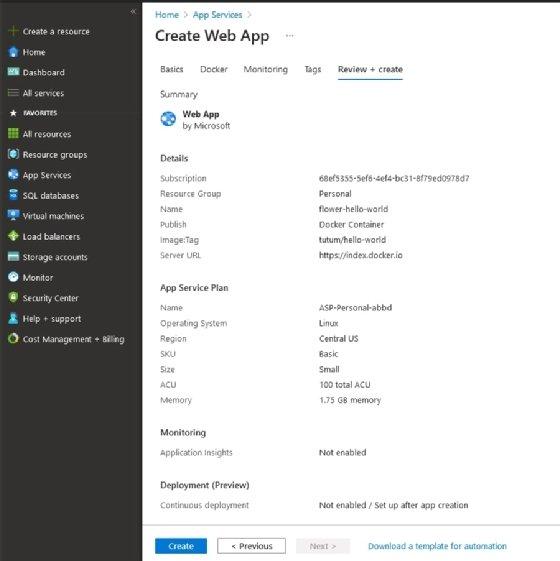 Review the Azure web app