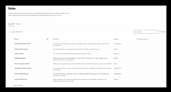 Office 365 admin roles
