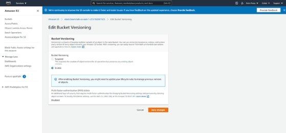 Screenshot of bucket versioning in Amazon S3