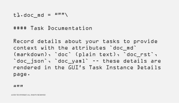 Abbildung 5: In diesem Codeabschnitt legt der Nutzer fest, dass Airflow eine Dokumentation schreiben soll.