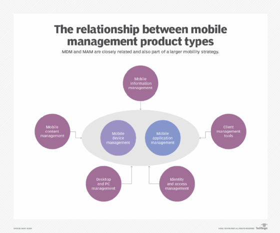 MDM and MAM in relationship to other mobility management components.
