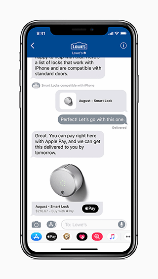 Apple Business Chat with Lowe's branding