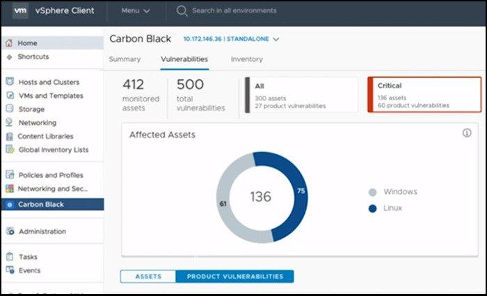 Screenshot of VMware Carbon Black vulnerabilities report