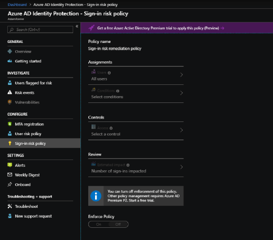 Azure AD identity protection sign-in risk policy
