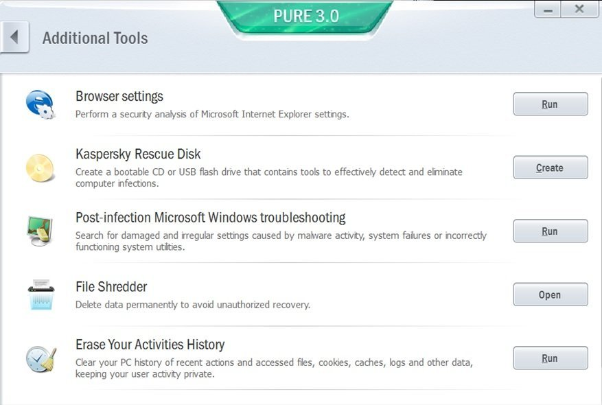 Kaspersky Pure's numerous security tools.