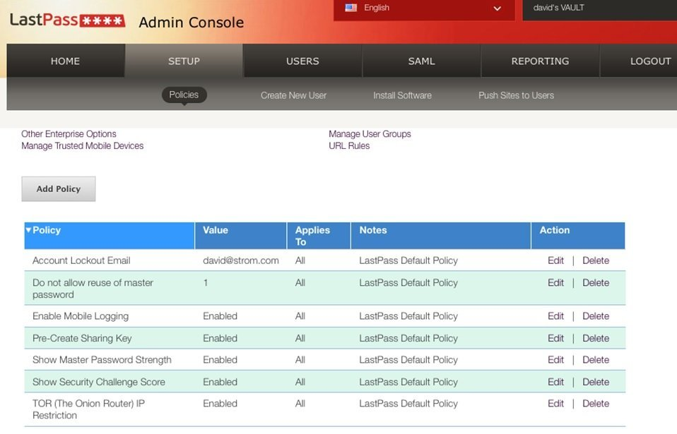 administration console from LastPass Enterprise's password management tool.