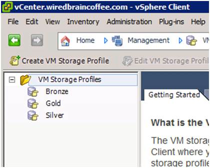 VM storage profiles created