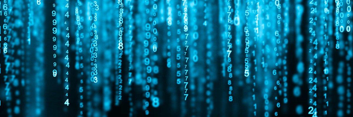 Digital background blue matrix. Binary computer code. Hacker concept. 3d rendering